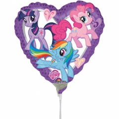Balon mini folie inima My Little Pony - 23 cm, umflat + bat si rozeta, Amscan 24798