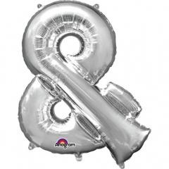 "Balon mini figurina Simbolul ""&"" argintiu - 27 x 35 cm, umflat + bat si rozeta, Amscan 33068"