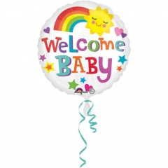 Balon Folie 45 cm - Welcome Baby - Curcubeu - Amscan 33638