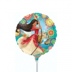 Balon Mini Folie Elena of Avalor - 23 cm,  umflat + bat si rozeta, Amscan 33206