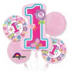 Buchet Baloane 1st Birthday Girl, Amscan 29820, set 5 bucati