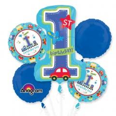 Buchet Baloane 1st Birthday Boy, Amscan 29821, set 5 bucati