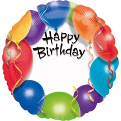 Balon Folie 45 cm Happy Birthday Cu Personalizare, Amscan 15791
