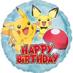 Balon Folie 45 cm Pokemon- Happy Birthday, Amscan 36333.