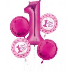 Buchet Baloane 1st Birthday Girl, Amscan 32542, set 5 bucati