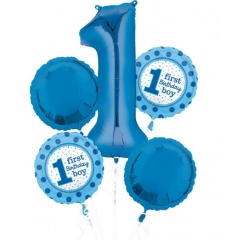 Buchet baloane 1st Birthday Boy, Amscan 32543, set 5 bucati