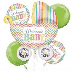 Buchet baloane Welcome Baby, Amscan 30917, set 5 bucati