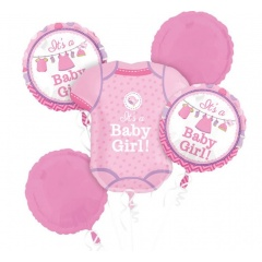 "Buchet Baloane ""Shower With Love Girl"", Amscan 30913, set 5 bucati"