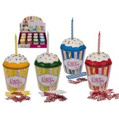 Set lumanare aniversara cu confeti si suport in forma de brioasa - ca. 6.5 x 8.5 cm, disponibil in 4 culori, Radar 181010