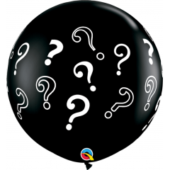 Baloane latex Jumbo 3ft inscriptionate Question Marks - Onyx Black, Qualatex 43400, 1 buc