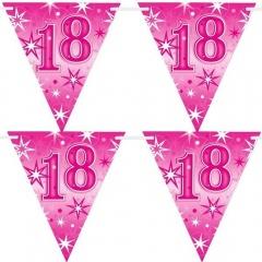 Banner stegulete pentru majorat - 2 m, Happy Birthday 18 ani, Qualatex 45578
