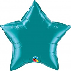 "Balon folie metalizat stea teal - 20""/50 cm, Qualatex 36576"
