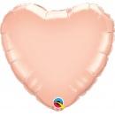 Balon mini figurina inima Rose Gold - 23 cm, umflat + bat si rozeta, Qualatex 57043