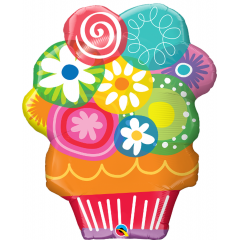 Happy Birthday Cupcake Shape Foil Balloon - 89 cm, Qualatex 30683