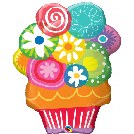 Happy Birthday Cupcake Shape Foil Balloon - 89 cm, Qualatex 30683