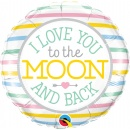 Balon Folie 45 cm, Love you to the moon - Qualatex 55382