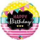 Balon Folie 45 cm, Happy Birthday - Qualatex 49144