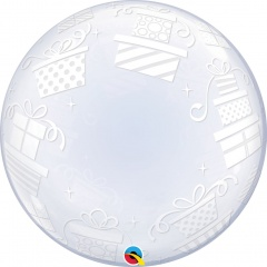 Balon Deco Bubble Presents 24''/61cm, Qualatex 52004