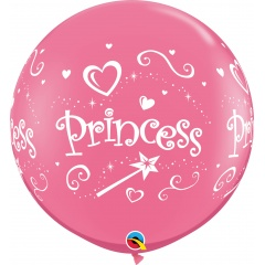 3ft Princess Rose Printed Jumbo Latex Balloon, Qualatex 18794, 1 piece
