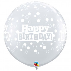3' Printed Jumbo Latex Balloons, Birthday Stars & Swirls-A-Round Diamond Clear, Qualatex 46326
