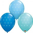 Baloane latex 11''/28 cm Small Polka Dots - Blue, Qualatex 18466