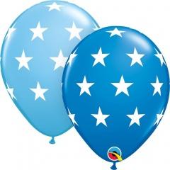 11''/28 cm Big Stars Latex Balloon Dark Blue/Pale Blue, Qualatex 18449