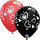 "Baloane latex 11""/28 cm inscriptionate Big Hearts - Asortate, Qualatex 78707"