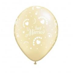 "Baloane latex 11"" inscriptionate Just Married - Pearl Ivory, Qualatex 92027"