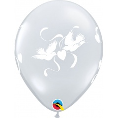 "Baloane latex 11""/28 cm inscriptionate Love Doves, Diamond Clear, Qualatex 37074"
