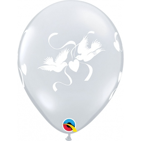 "11"" Printed Latex Balloons, Just Married Hearts-A-Round Pearl Ivory, Qualatex 88440, Pack of 100 pieces"