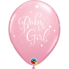 "Baloane latex 11""/28 cm Baby Girl cu stelute, Qualatex 43003, set 6 buc"