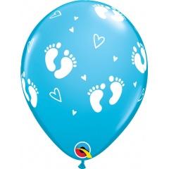 """Baloane latex 11""""/28 cm Footprints & Hearts, Qualatex 45652, set 6 buc"""