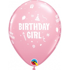 "Baloane latex 11""/28 cm inscriptionate Birthday Girl, Roz, Qualatex 17921, set 6 buc"