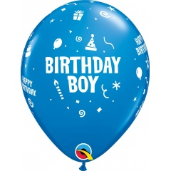 "Baloane latex 11""/28 cm inscriptionate Birthday Boy, Albastru, Qualatex 17920, set 6 buc"