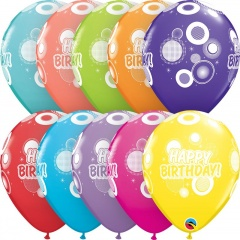 "Baloane latex 11""/28 cm inscriptionate Happy Birthday Dots & Glitz, Asortate, Qualatex 17927, set 6 buc"