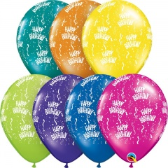 "Baloane latex 11""/28 cm inscriptionate Birthday-A-Round, Asortate, Qualatex 12583"