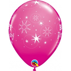 "Baloane latex 11""/28 cm inscriptionate Happy Birthday Sparkle, Roz, Qualatex 17937, set 6 buc"