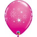 "Baloane latex 11""/28 cm inscriptionate Happy Birthday Sparkle, Roz, Qualatex 17937, set 6 buc"