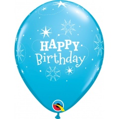 "Baloane latex 11""/28 cm inscriptionate Happy Birthday Sparkle, Bleu, Qualatex 17936, set 6 buc"