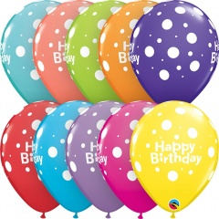 "Baloane latex 11""/28 cm inscriptionate Happy Birthday cu buline, Asortate, Qualatex 17919, set 6 buc"