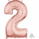Balon Folie Cifra 2 Rose Gold - 43 x 66 cm, Amscan 36595