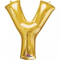 Balon folie mare litera Y auriu - 86 cm, Amscan 32998