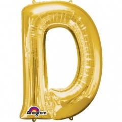 "34""/86 cm Gold Letter D Shaped Foil Balloon, Northstar Balloons 00251"