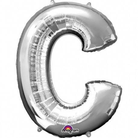 Balon folie mare litera C argintiu - 86 cm, Amscan 32950