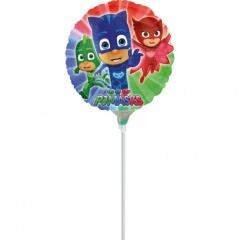 Balon mini folie PJ Masks - Eroii in pijama - 23 cm umflat + bat si rozeta, Amscan 34677