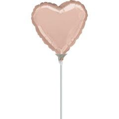 Balon mini folie inima Rose Gold - 23 cm, umflat + bat si rozeta, Amscan 36189