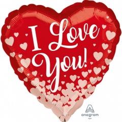 Balon folie inima I love you cu inimioare - 45 cm, Amscan 36797