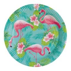 Farfurii carton pentru petrecere Flamingo - 23 cm, Amscan 9903325, set 8 bucati