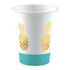 Pahare carton pentru petrecere cu ananas - 250 ml, Amscan 9903309, set 8 bucati