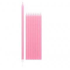 Lumanari aniversare pentru tort roz cu suport, Radar 51805, set 10 bucati